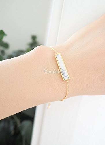 Dainty White Simulated Howlite Stone Bar Delicate Gold Plated Chain Bracelet