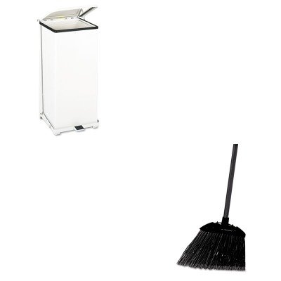 KITRCP637400BLARCPST24EPLWH - Value Kit - Defenders Biohazard Step Can, Square, Steel, 24 gal, White (RCPST24EPLWH) and Rubbermaid-Black Brute Angled Lobby Broom (RCP637400BLA) by Rubbermaid