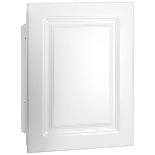 Mirrors and More Recessed White Raised MDF Wood Panel Medicine Cabinet | Fixed Shelf | Bathroom | Kitchen | 16