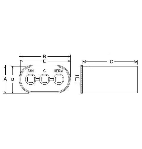 Rheem/Protech 43-25135-21 - Capacitor - 40/5/440 Dual Ova...