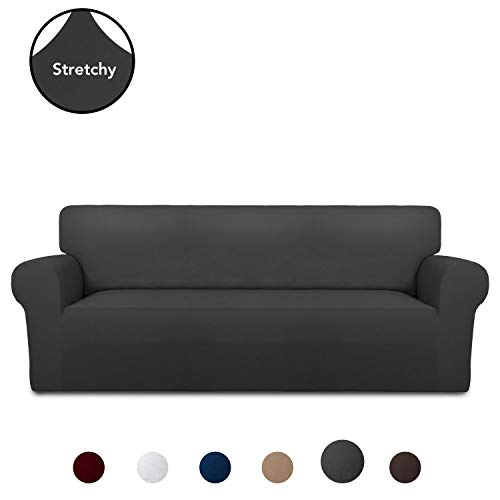 PureFit Super Stretch Chair Sofa Slipcover - Spandex Non Slip Soft Couch Sofa Cover, Washable Furniture Protector with Non Skid Foam and Elastic Bottom for Kids, Pets (Sofa, Dark Gray)