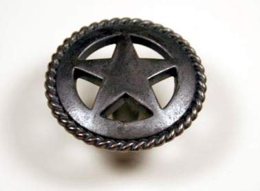 Lone Pull Star (Set of 6 Rustic Rope Lone Star Drawer Pulls Cabinet Knobs Western Southwest Decor Texas (Oil Rubbed Brass))