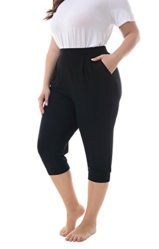 (ZERDOCEAN Women's Plus Size Casual Stretchy Relaxed Lounge Capri Black 2X)