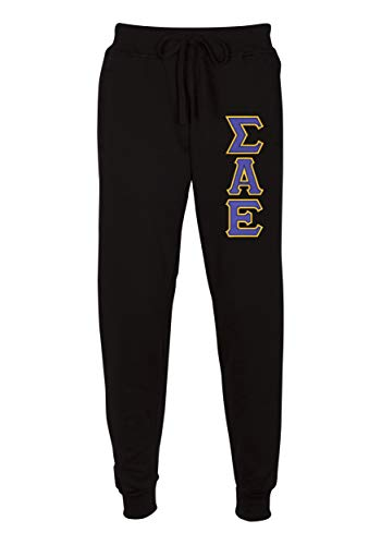 - Sigma Alpha Epsilon Embroidered Twill Letter Joggers Black Purple Extra Large