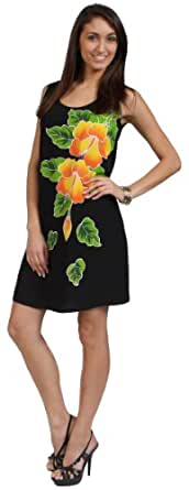 1 World Sarongs Womens Summer Sundress with Batik in Black - X-Large