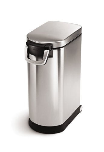 simplehuman 30 Liter, 32 lb / 14.5 kg Large Pet Food Storage Can, Brushed Stainless Steel