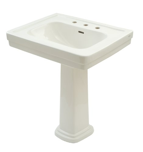 TOTO LPT530.8N#11 Promenade Lavatory and Pedestal with 8-Inch Centers, Colonial White, Wide Basin