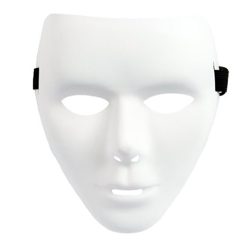 [Whole Face PVC Plain Hip-hop White Mask Costume Party Cosplay Dance Crew Pack of 10 (10 pcs for] (Plain White Mask Costume)