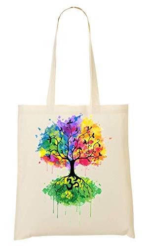 AMS Nature Spiritual Bolsa Compra De De Color La Tree Mano Paint Bolso rArU6Fqw
