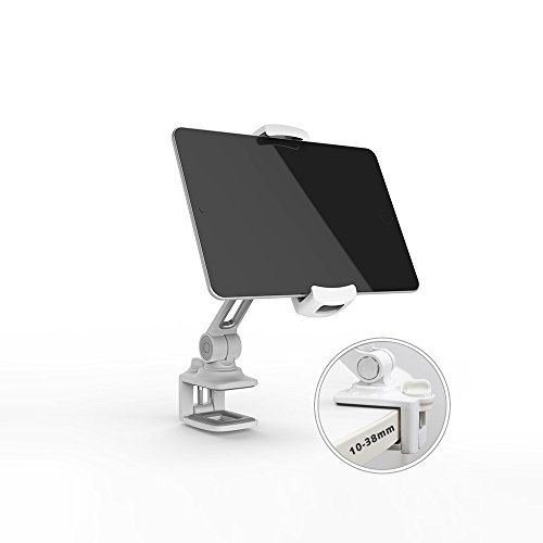 1.5' Spine (Phone stand LARICARE Tablet Stand Phone Holder 360 degree Swivel Aluminum Adjustable Sturdy clamp for Camera, iPad, iPhone, Samsung and Other Smart Phones LD204B(White))