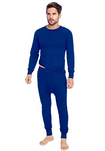 Rocky Men's Thermal 2pc Set Long John Underwear Smooth Knit (Small, Royal (Long John Thermal Pajamas)