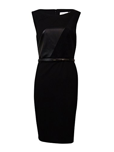 Calvin Klein Women's Sleeveless Leather Panel Faux Suede - Leather Belted Dress