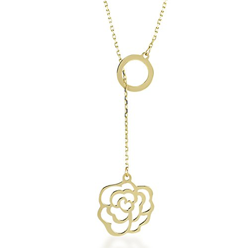 Gelin 14k Real Gold Rose Flower Pendant Necklace for Women - Certified Fine Jewelry Gift for Birthday, 18 inch