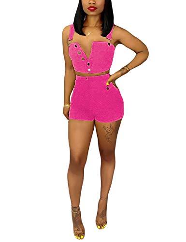 2 Piece Denim Short Set for Women,Button Up Crop Top Shorts Outfit Rose M ()