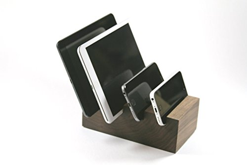 4 Device Docking Stand - Solid Walnut Block