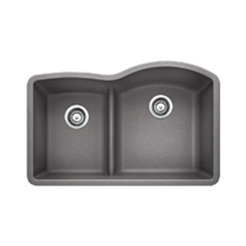 Blanco 441601 Diamond 1.75 Low Divide Under Mount Reverse Kitchen Sink, Large, Metallic - Under Double Sink Mount Kitchen