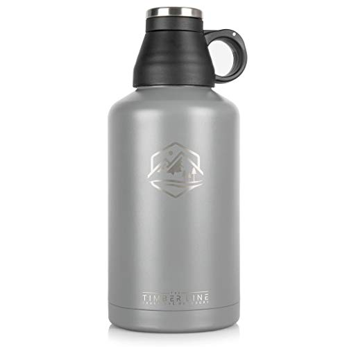 64 oz Insulated Water Bottle and Growler, Vacuum Insulated Stainless Steel, BPA Free, Double Walled Half Gallon Water Jug, Wide Mouth, Leak Proof Cap, Keeps Drinks HOT or Cold, for Men or Women
