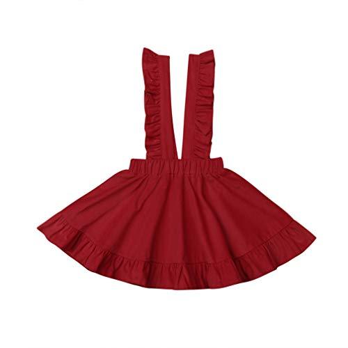 Specialcal Baby Girls Velvet Suspender Skirt Infant Toddler Ruffled Casual Strap Sundress Summer Outfit Clothes (5-6T, Big Red(Velvet))