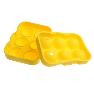 KC-IT02 6 Holes Large Ball Shape Silicone Ice Cube Sphere Whiskey Cocktail Ice Mold Tray - Bar Tools & Accessories Ice Tray - (Yellow)