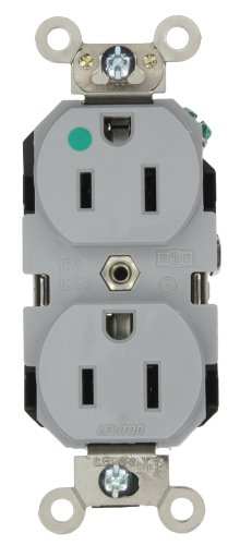 Leviton 8200-GY 15-Amp, 125-Volt, Extra Heavy Duty Hospital Grade, Duplex Receptacle, Straight Blade, Self Grounding, Back and Side Wired, Gray ()