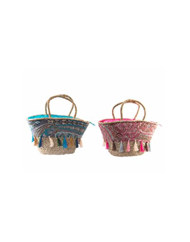 Home And More Natural Wicker Bag Ethnic Design - Blue