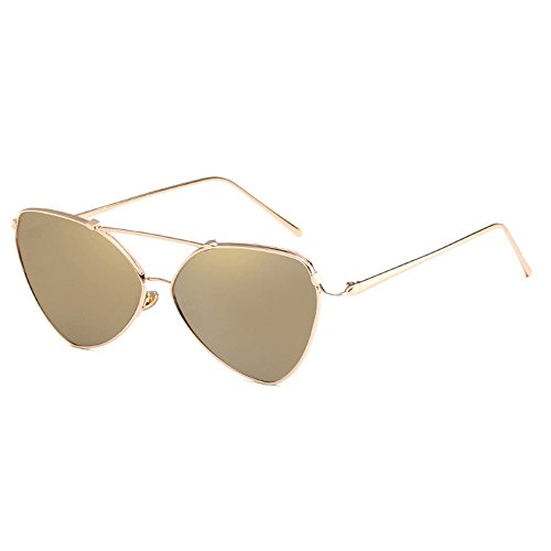 mujeres de de para Rosetón para sol Gafas estuche elegantes sol Oro de con de gato cuero Gafas señoras ojo de 5BTq8fB