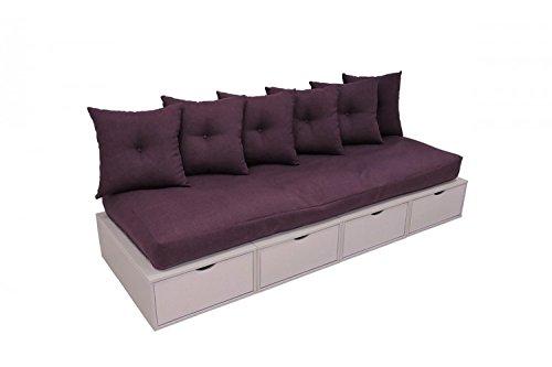 ABC MEUBLES - Banquette cube 200cm - BANQ200 - Violet Pastel, Prune