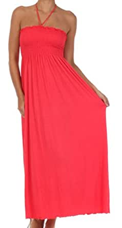 Sakkas 5026 Comfortable Jersey Feel Solid Color Smocked Bodice String Halter Maxi / Long Dress - Coral / Small