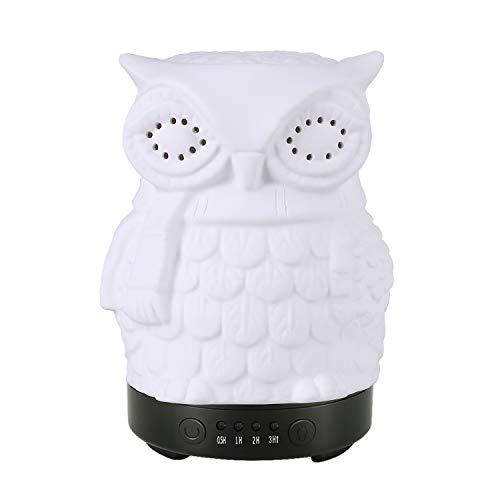 Essential Oil Diffuser COOSA 100ml Ceramic Owl Aromatherapy Diffuser Ultrasonic Cool Mist Humidifier with 7 Changing Color LED Lights and Waterless Auto Shut-off for Baby Room Bedroom Office Home Yoga