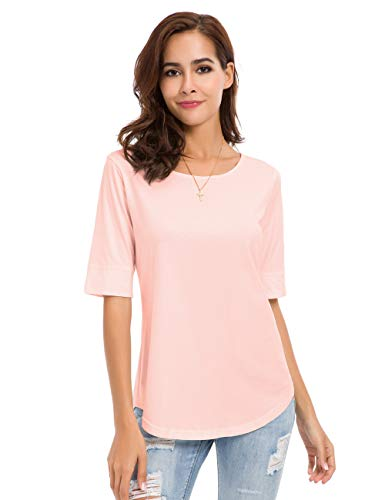 Womens Crew Neck Loose Fitting Tunic Shirts Cotton Casual Tops Pink