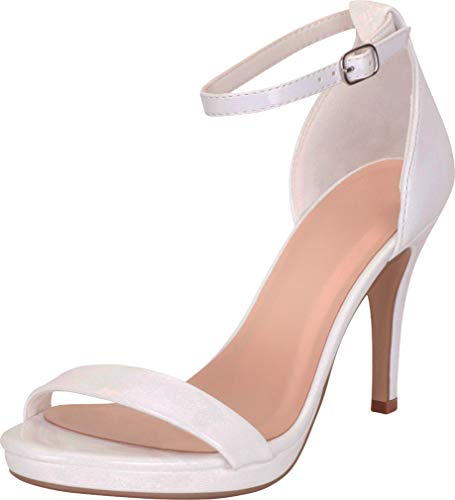Cambridge Select Women's Open Toe Single Band Buckled Ankle Strappy Stiletto High Heel Sandal (7.5 B(M) US, White Patent PU)