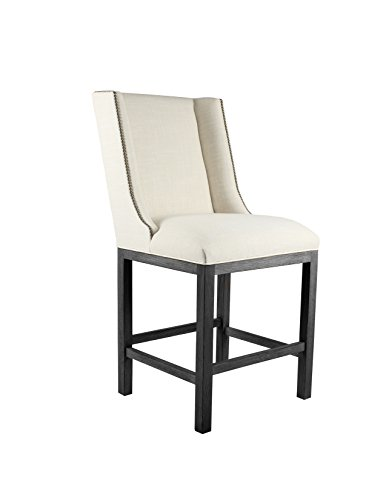 South Cone Home Linen Fabric Grey Finish Bailey Barstool with Nail Head, 30