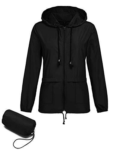 ZHENWEI Lightweight Hooded Raincoat for Women Waterproof Packable Active Outdoor Rain Jacket Waterproof Rainwear Black M