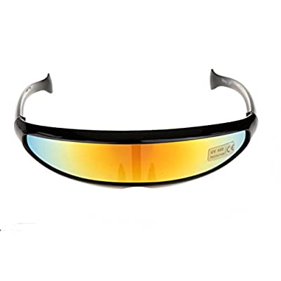Futuristic Cyclops Shield Sunglasses For Cosplay Mirrored Lens Visor Narrow Cyclops Novelty Party Shield © ™: Toys & Games