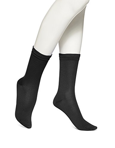 No Nonsense Women's Feminine Crew Socks-3 Pack, Black, On...