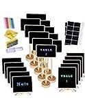 Supla - Juego de 20 mini pizarras con soporte y soportes para colocar dulces o postres, marcadores de mesa para fiestas, bodas, mensajes de mensaje, tabla de buffet, número de mesa, nombre de planta, signos de 3 estilos
