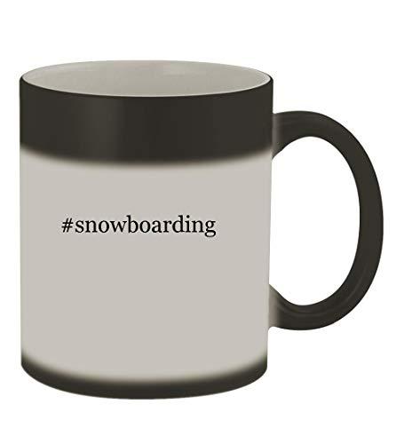 (#snowboarding - 11oz Color Changing Hashtag Sturdy Ceramic Coffee Cup Mug, Matte Black)