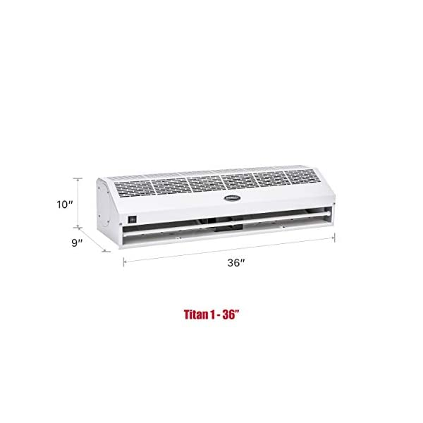 """DuraSteel Aerial Titan-1 36"""" White Super Power High Air Volume Commercial Indoor Air Curtain - UL Certified - with Free Heavy Duty Door Microswitch (Limit Switch)"""