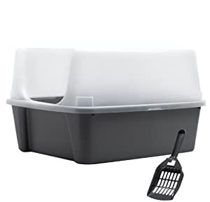 IRIS Open Top Cat Litter Box Kit with Shield and Scoop, Gray 2-Pack by IRIS USA, Inc.