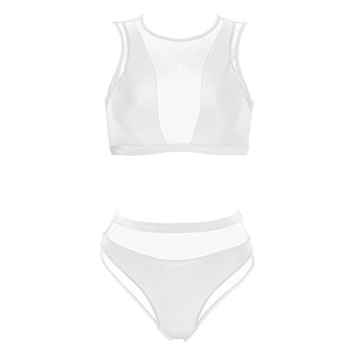 Dixperfect Women's Mesh Insert Bikini Sets Swimsuits High Neck Crop Top with High Waisted Bottoms Bathing Suit (L, White) by Dixperfect
