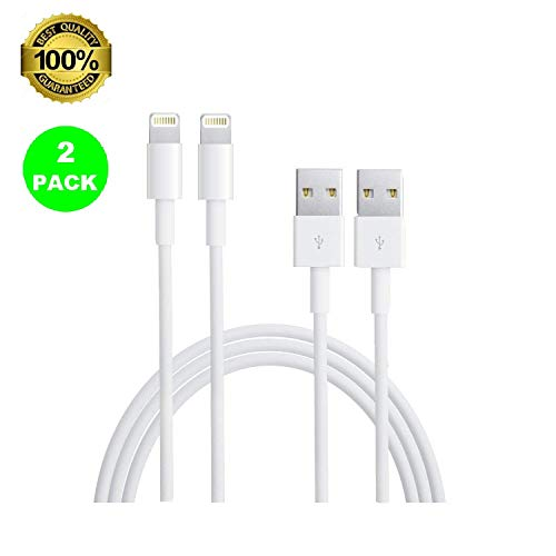 Lightning Cable, eTECH 2 Pack 6 Feet Lightning to USB A Cable Fast Charging and Sync Charger Apple iPhone Xs/XS Max/XR/X / 8/8 Plus / 7/7 Plus / 6S/6 Plus/SE/ 5S, iPad Pro Air Mini 2/3/4, iPod 5/6