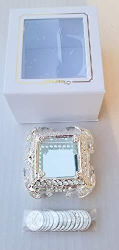 (Elegant Arras Coin Set Wedding Silver Glass Mirror Box Boda Plateadas Gift Favors with Gift)
