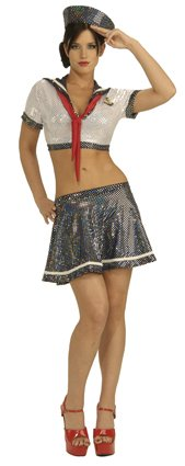 Ahoy Matey Adult Costumes (Secret Wishes Women's Ahoy Matey Adult Costume with Holographic Sequins, Multicolor, Small)