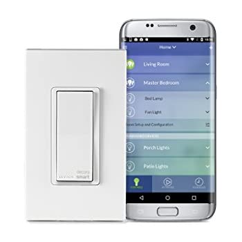 Leviton DW15S 1BZ Decora Smart Wi Fi 15A LED/Incandescent Switch, No