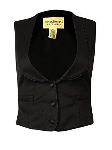 RALPH LAUREN Denim & Supply Women's Shawl Three-Button Vest (XS, (Lauren Three Button Jeans)