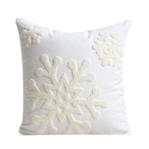 Baisheng Christmas Embroidery Snowflakes Pillowcase Throw Cotton Pillow Cover Room Sofa Bed Decorative Square Cushion…