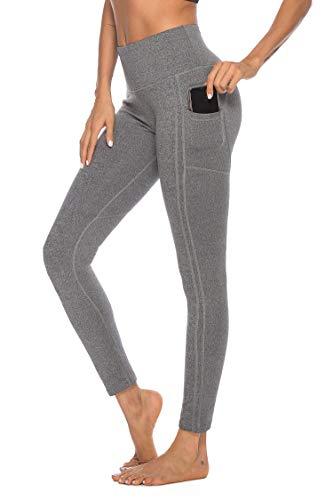 OVESPORT Women High Waist Ankle Length Workout Skinny Active Yoga Sports Leggings(2208Grey,M)