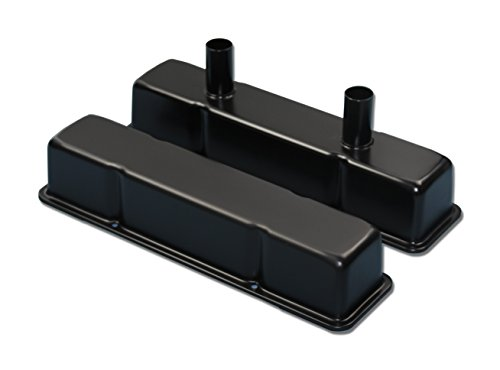 Tall 3 5/8 Black Circle Track Valve Covers for 1958-1986 Small Block Chevy