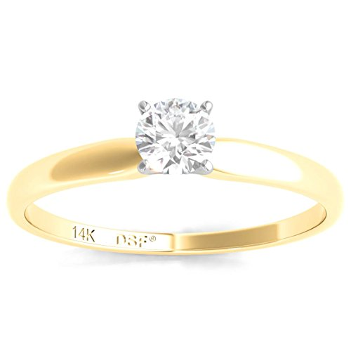 Diamond Engagement Certified Solitaire (Diamond Studs Forever 1/4 Ctw Solitaire Diamond Engagement Ring AGS Certified KL/I1 14K Yellow Gold)