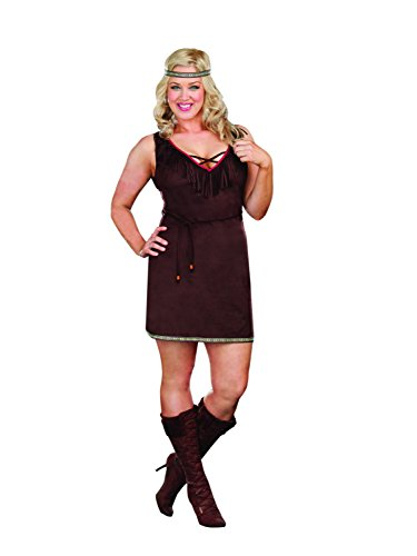Plus Size Pocahontas Costumes (Alexa by Dreamgirl Women's Plus Size Native Beauty Costume, Brown, 1/2X)